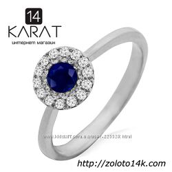 Золотое кольцо с сапфиром и бриллиантами 0, 10 карат. Белое золото. Новое