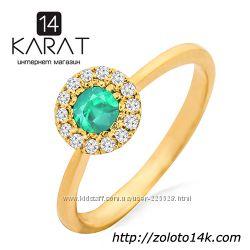 Золотое кольцо с изумрудом и бриллиантами 0, 10 карат 17 мм. Желтое золото