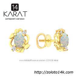 Золотые серьги гвоздики с опалами и бриллиантами 0, 06 карат. Желтое золото
