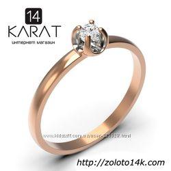 Золотое кольцо с бриллиантом 0, 08 карат 16, 5 мм. Желтое золото. Новое