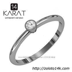 Золотое кольцо с бриллиантом 0, 08 карат 17 мм. Белое золото. Новое