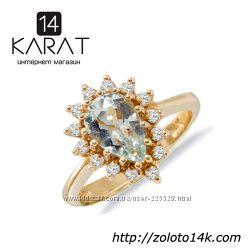 Золотое кольцо с топазом и бриллиантами 0, 28 карат 16 мм. НОВОЕ