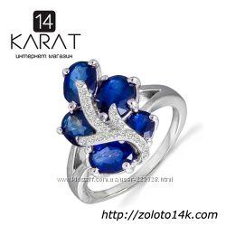 Золотое кольцо с сапфирами и бриллиантами 0, 12 карат 16, 5 мм. НОВОЕ