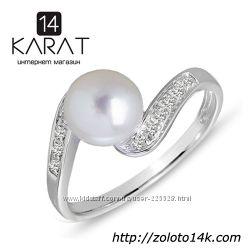 Золотое кольцо с жемчугом и бриллиантами 0, 06 карат 17 мм. НОВОЕ