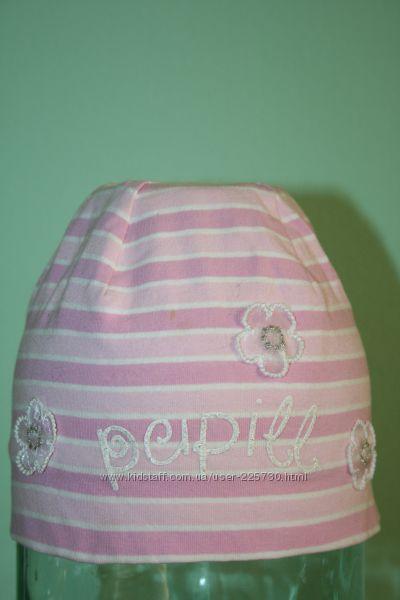 шапка трикотажная pupill розовая в полосочку