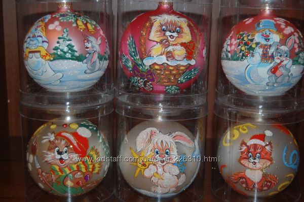 Расспродажа новогодние стеклянные игрушки, украшения, шары ручная роспись