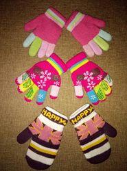 Перчатки и варежки на осень-зиму, комплект на девочку 5-8 лет
