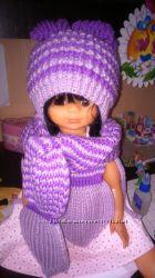 Зимний вязанный комплект шапка, шарф и варежки