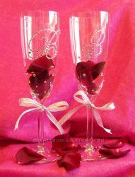 Свадебные бокалы и шампанское с кристаллами Сваровски
