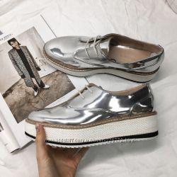Туфли дерби ZARA  на шнуровке и платформе