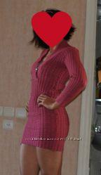 Теплое платье-туника, цвет-вишня