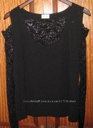 Блузка черная Ashley Brooke с кружевными рукавами размер 14