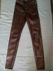 Нарядные джинсы с бронзовым отливом на 9-12 лет