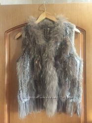 Жилетка из натурального вязаного меха
