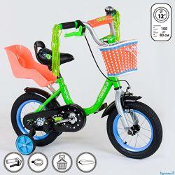 Велосипед для девочки с сиденьем для куклы Corso