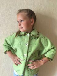 Легкое флисовое пальтишко-кардиган на девочку