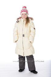Дешево Новое фирменное Пальто зимнее пуховое HUPPA с натур. мехом 122 и 128