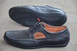 Мужские кожаные туфли, мокасины ECCO качество