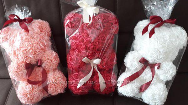 Мишки из роз ручной работы Отличный подарок