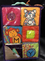 Развивающие мягкие кубики-сортеры ABC 6 кубиков, в сумочке, мягкие цвета