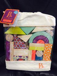 Деревянные кубики - Еловый домик 40 деталей, в сумочке