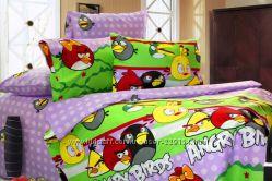Комплект в детскую кровать Angry Birds, 100 бязь 147Х215-простынь, 147х215