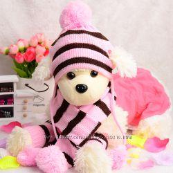 Комплект для собачек  Шапочка, шарф, носочки