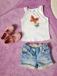 Джинсовые шорты с бабочками