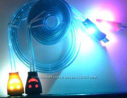 Кабель светящийся для зарядки и передачи данных USB - micro USB