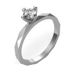Золотое кольцо с бриллиантом 0, 21 карат 17 мм. Белое золото. Новое