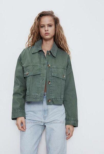 Джинсовая куртка Zara цвета хаки