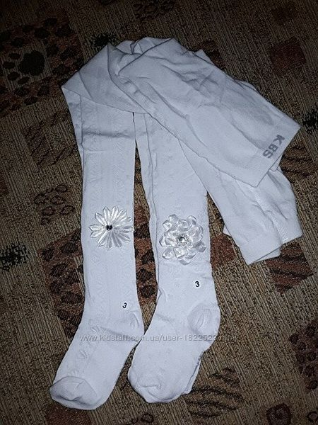 Белые колготки хлопок Турция на 2-4 года красивенные.