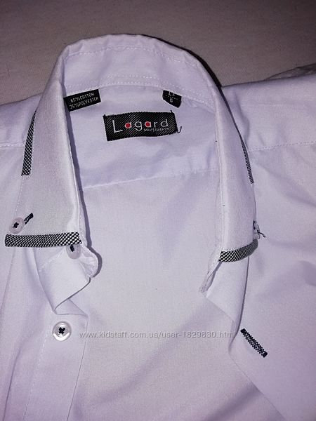 Рубашка белая  Lagard c коротким рукавом для школьника младших классов