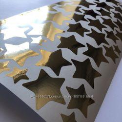 Зеркальные звезды, наклейка на стену
