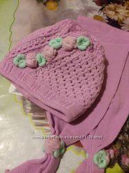 Шапочка с шарфиком, двойная вязка 50-54р, осень-зима