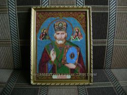 Икона из бисера Святой Николай Чудотворец
