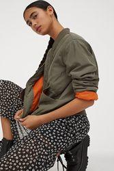 Женская куртка H&M оверсайз цвет хаки, милитари