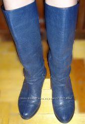 Осінні жіночі чобітки, натуральна шкіра  темно-синій флотар труби-хіт сезон