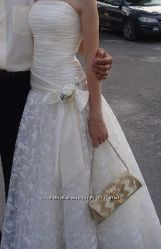 Плаття на весілля з бантом, шампань, розмір 42