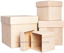 Деревянные заготовки для декорирования - коробки и стаканы