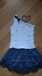 Летний комплект майка на одно плечо и юбка