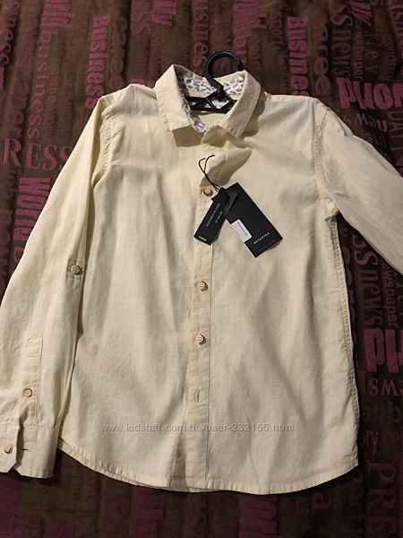 Рубашка Reserved 134 р. Лимонного цвета, новая с биркой