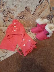 Зимние детские ботинки, комплект-шапка, шарф
