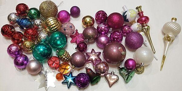новорічні іграшки пластиковые новогодние игрушки 50 шт