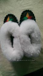 Теплющие детские кожаные тапочки на натуральной овчине