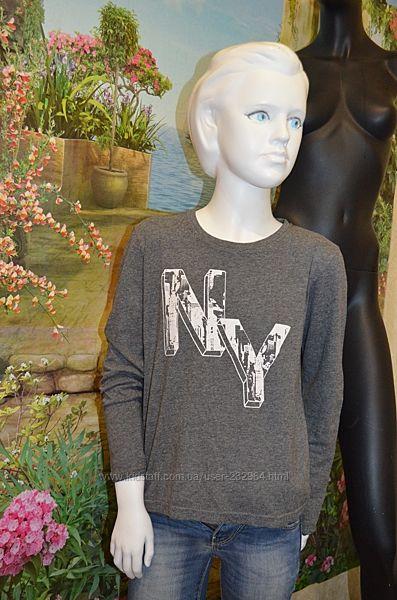 Pepperts хлопковая блузка футболка поло для девочки, рост 134-140