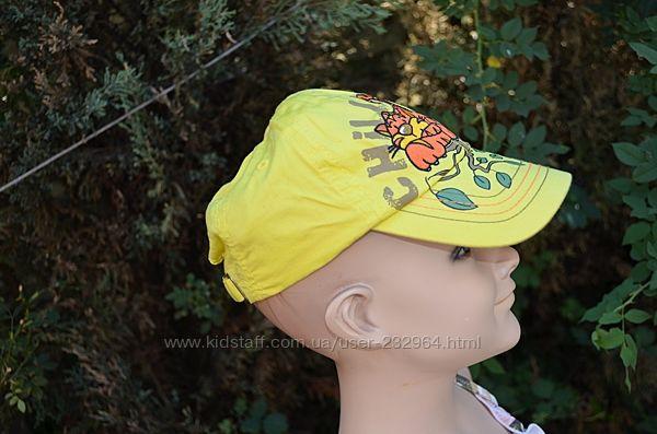 Фирменная детская кепка бейсболка ярко желтого цвета с тигром