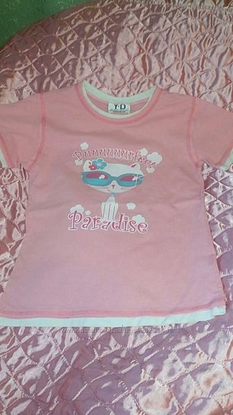 Фирменная розовая футболка с котиком для девочки
