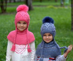 Шапка на девочку зима качество супер  в наличии клубника, молоко и синяя