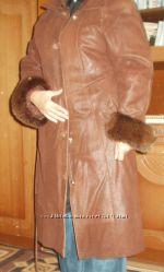 кожаное пальто плащ c подстёжкой